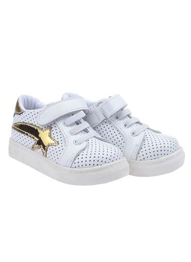 Kiko Kids Kiko Kids Teo S-2010-1 %100 Deri Orto pedik Cırtlı Kız Çocuk Ayakkabı Altın